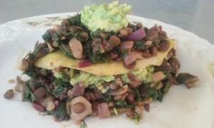 Lentil and Beet Greens Tacos