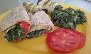 Hummus Wrap with Eggplant and Kale